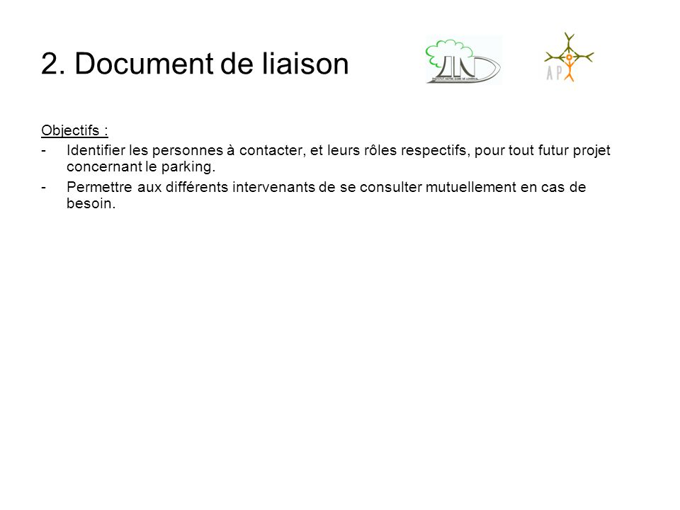 2. Document de liaison Objectifs :