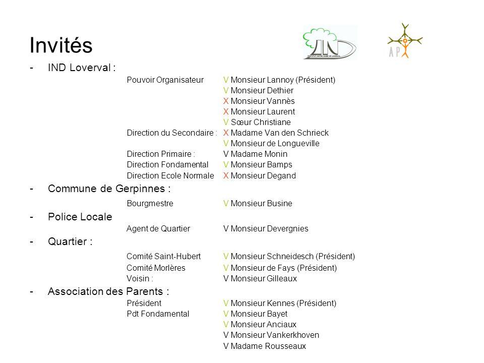 Invités IND Loverval : Commune de Gerpinnes :