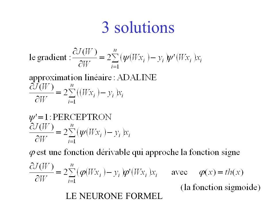 3 solutions LE NEURONE FORMEL
