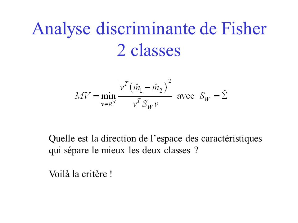 Analyse discriminante de Fisher 2 classes