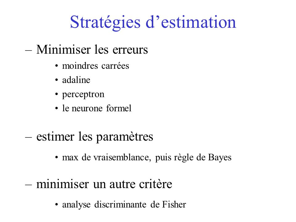 Stratégies d'estimation
