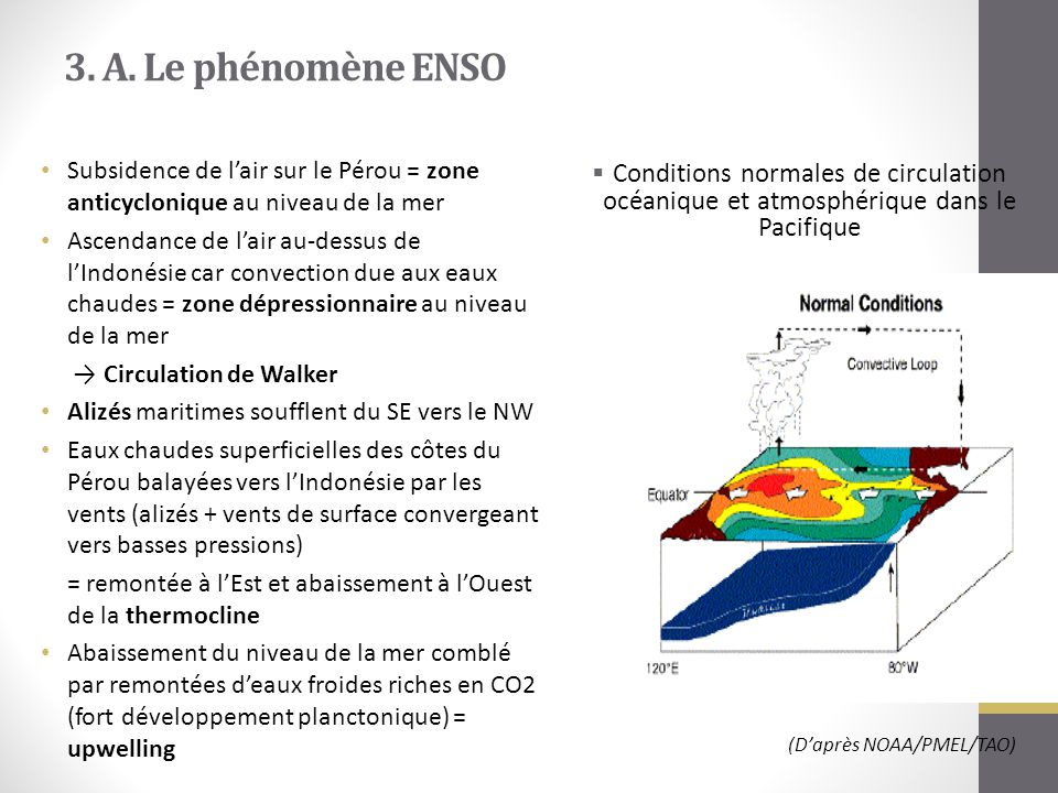 3. A. Le phénomène ENSO Subsidence de l'air sur le Pérou = zone anticyclonique au niveau de la mer.