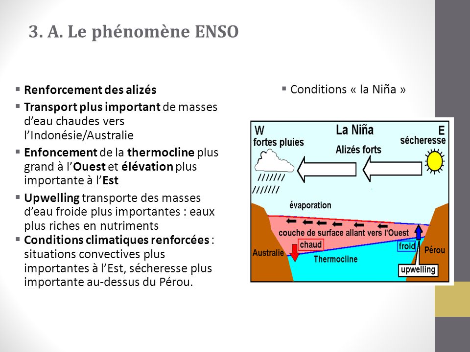 3. A. Le phénomène ENSO Conditions « la Niña » Renforcement des alizés