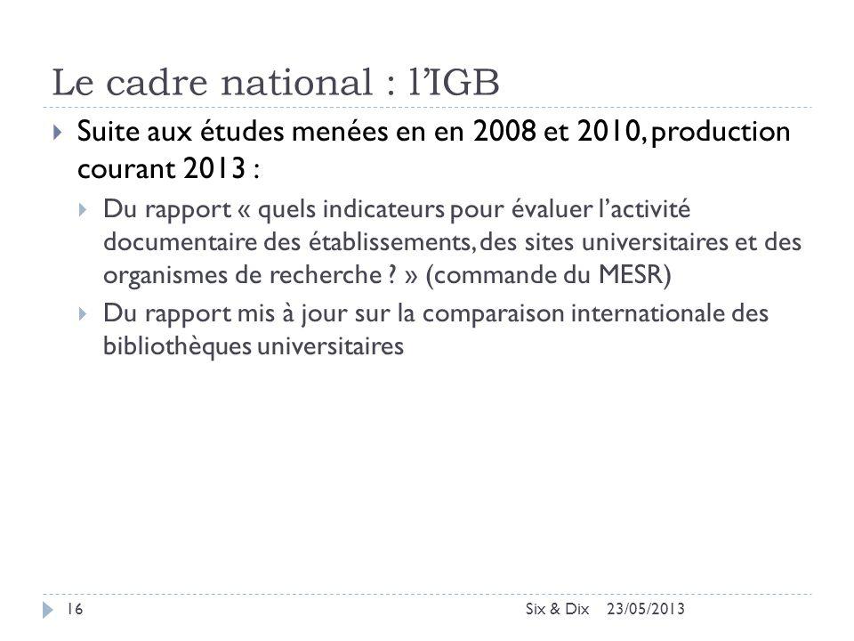 Le cadre national : l'IGB