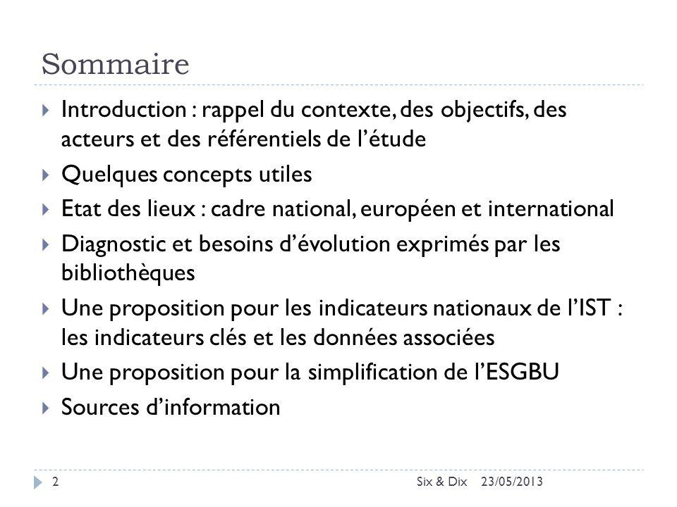 Sommaire Introduction : rappel du contexte, des objectifs, des acteurs et des référentiels de l'étude.