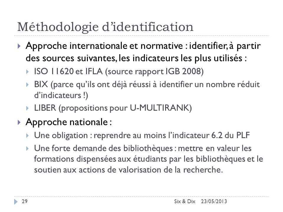 Méthodologie d'identification