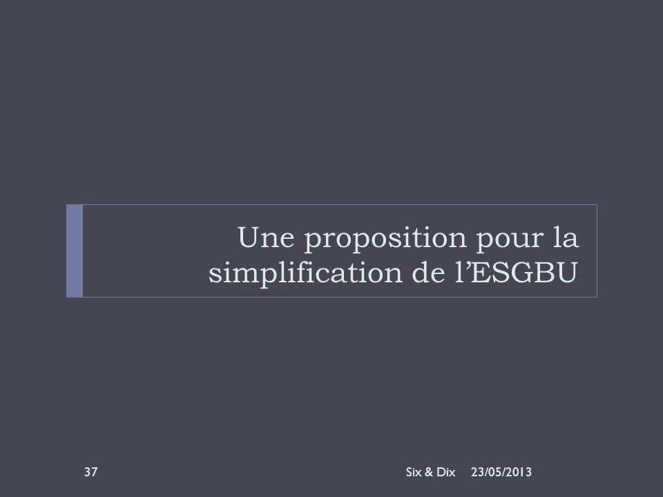 Une proposition pour la simplification de l'ESGBU