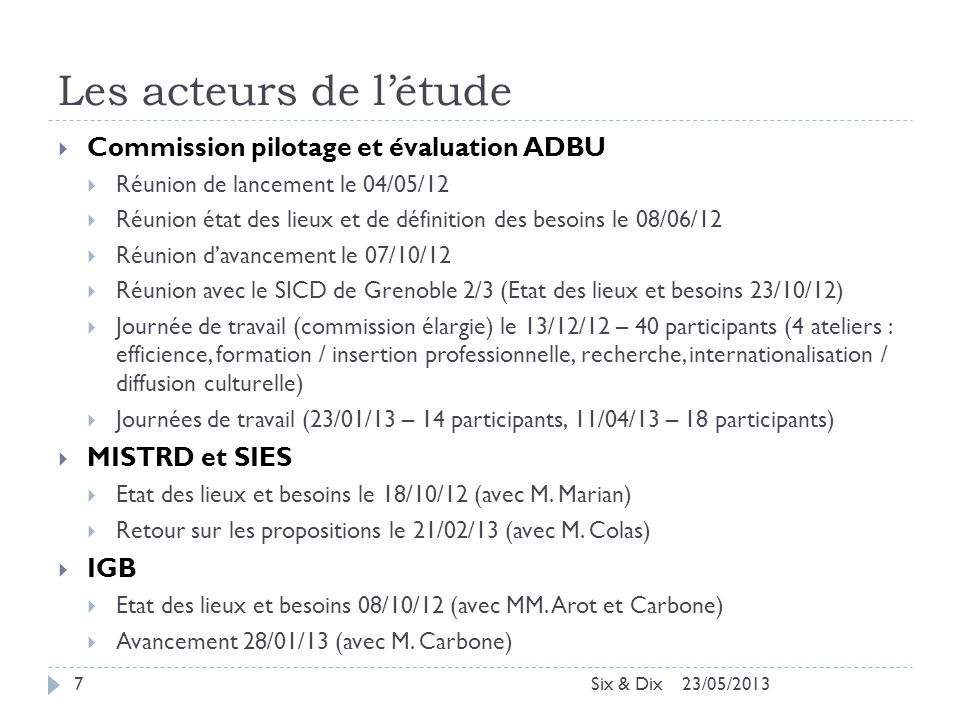 Les acteurs de l'étude Commission pilotage et évaluation ADBU