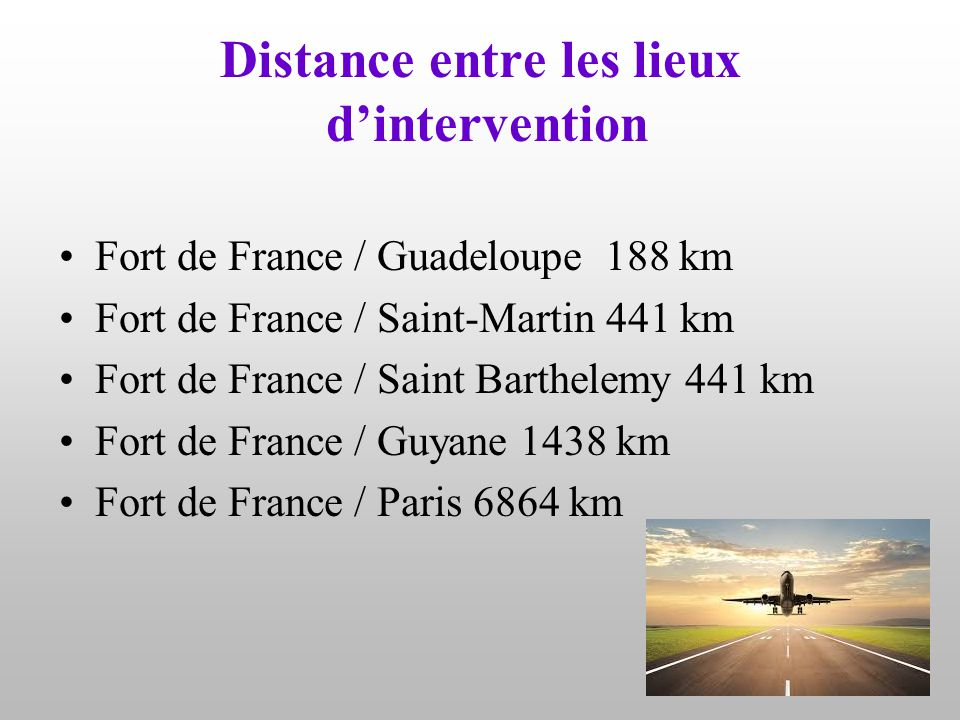 Distance entre les lieux d'intervention