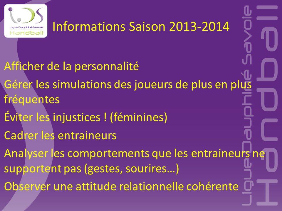 Informations Saison 2013-2014