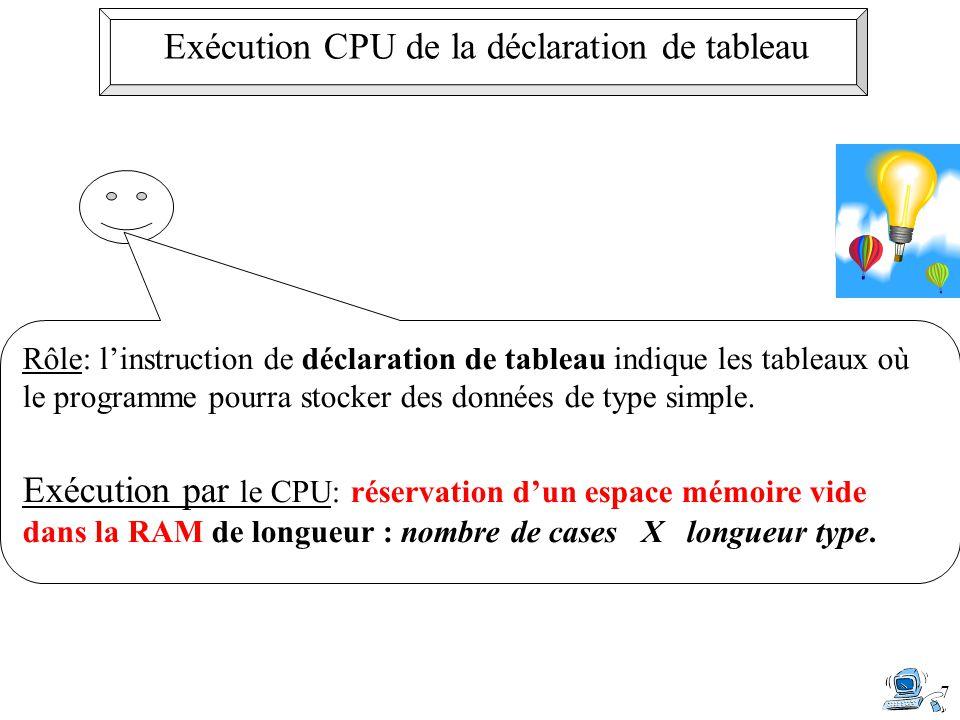 Exécution CPU de la déclaration de tableau