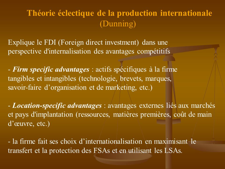 (Dunning) Théorie éclectique de la production internationale