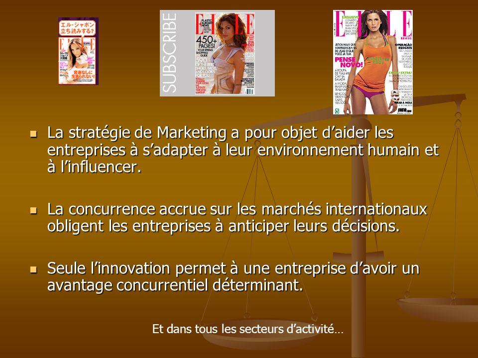 La stratégie de Marketing a pour objet d'aider les entreprises à s'adapter à leur environnement humain et à l'influencer.