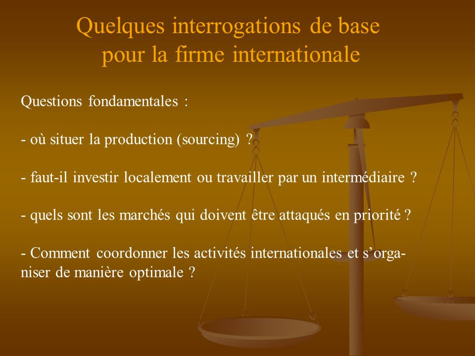 Quelques interrogations de base pour la firme internationale