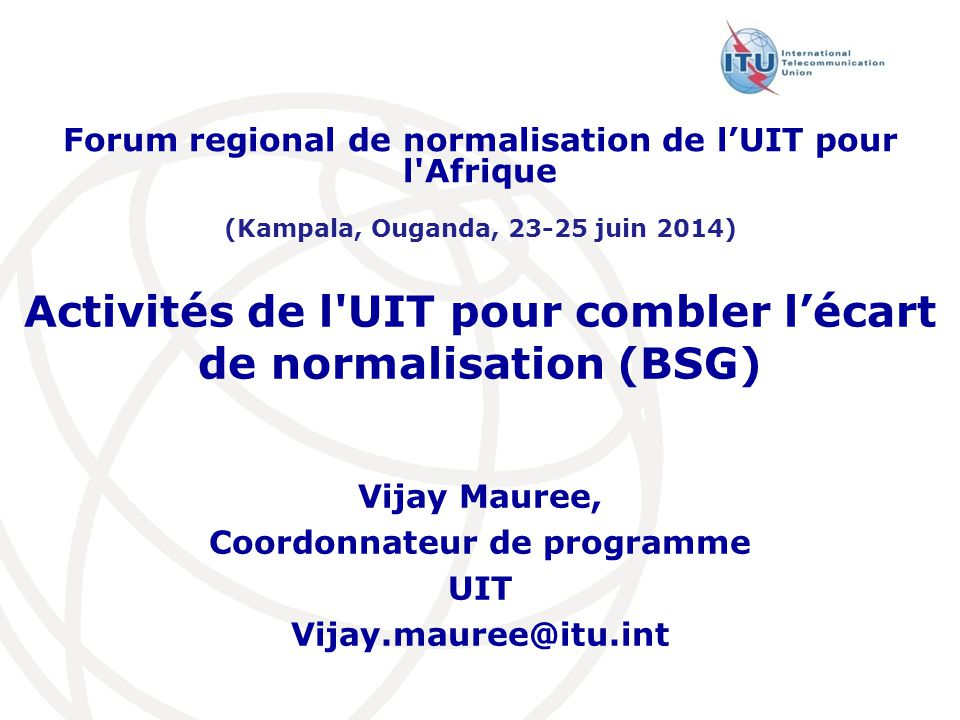 Activités de l UIT pour combler l'écart de normalisation (BSG)