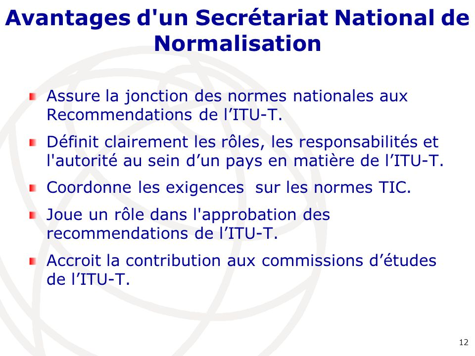 Avantages d un Secrétariat National de Normalisation