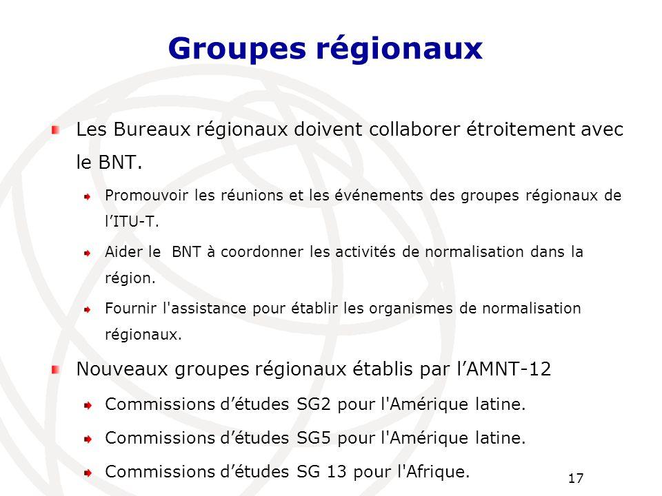 Groupes régionaux Les Bureaux régionaux doivent collaborer étroitement avec le BNT.