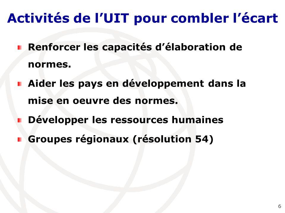 Activités de l'UIT pour combler l'écart