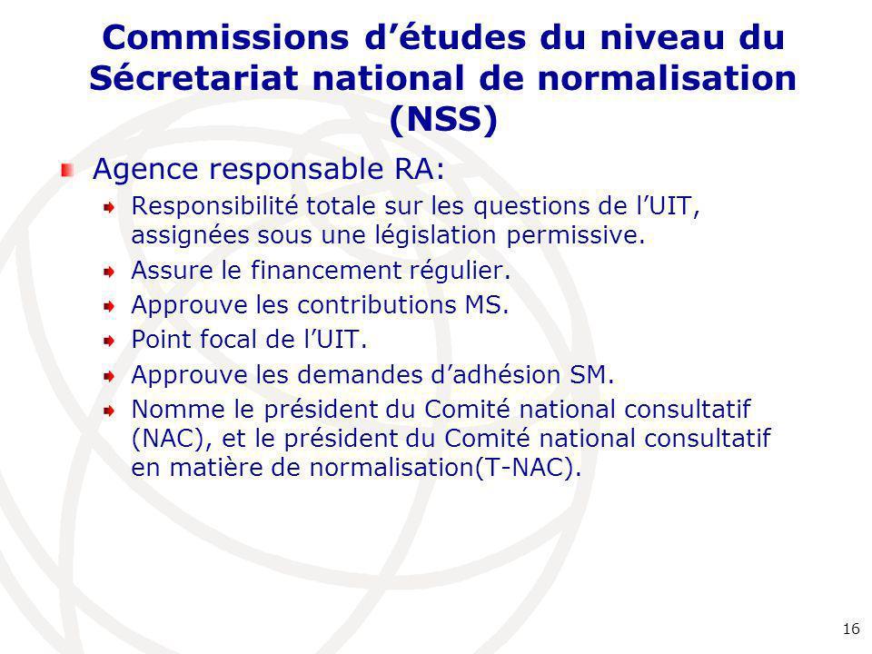 Commissions d'études du niveau du Sécretariat national de normalisation (NSS)