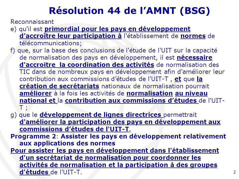 Résolution 44 de l'AMNT (BSG)