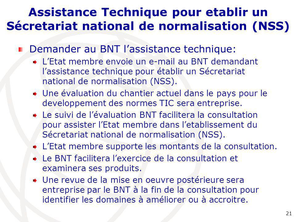 Assistance Technique pour etablir un Sécretariat national de normalisation (NSS)