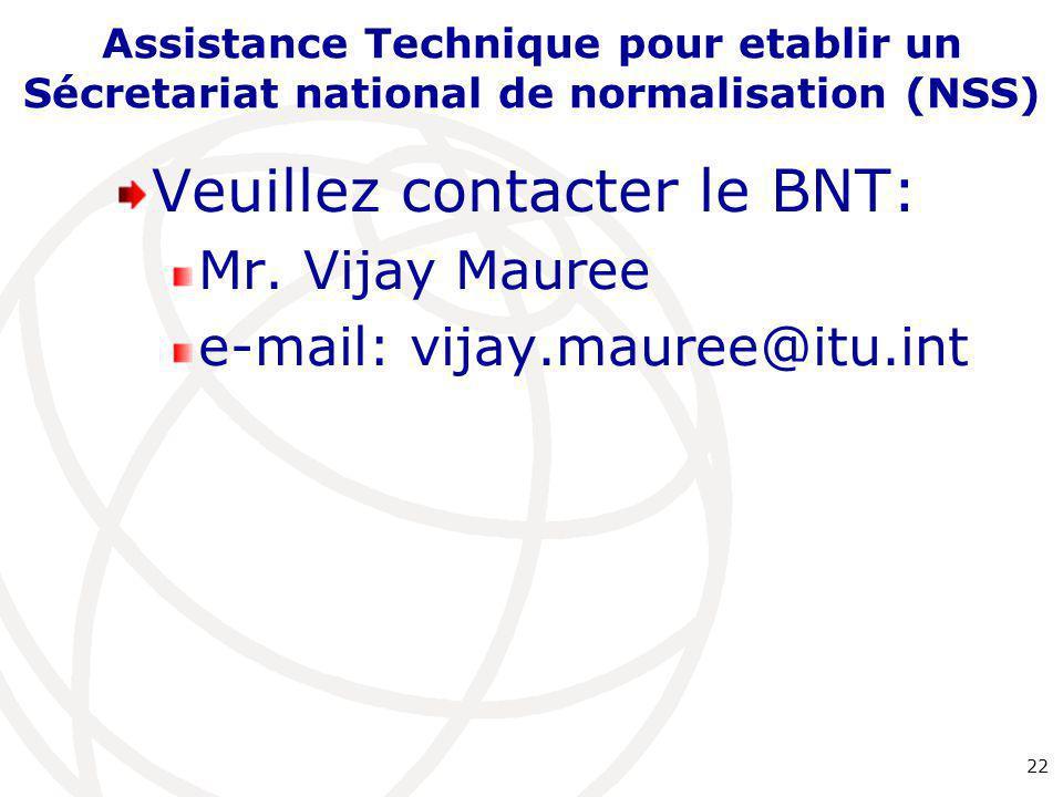 Veuillez contacter le BNT: