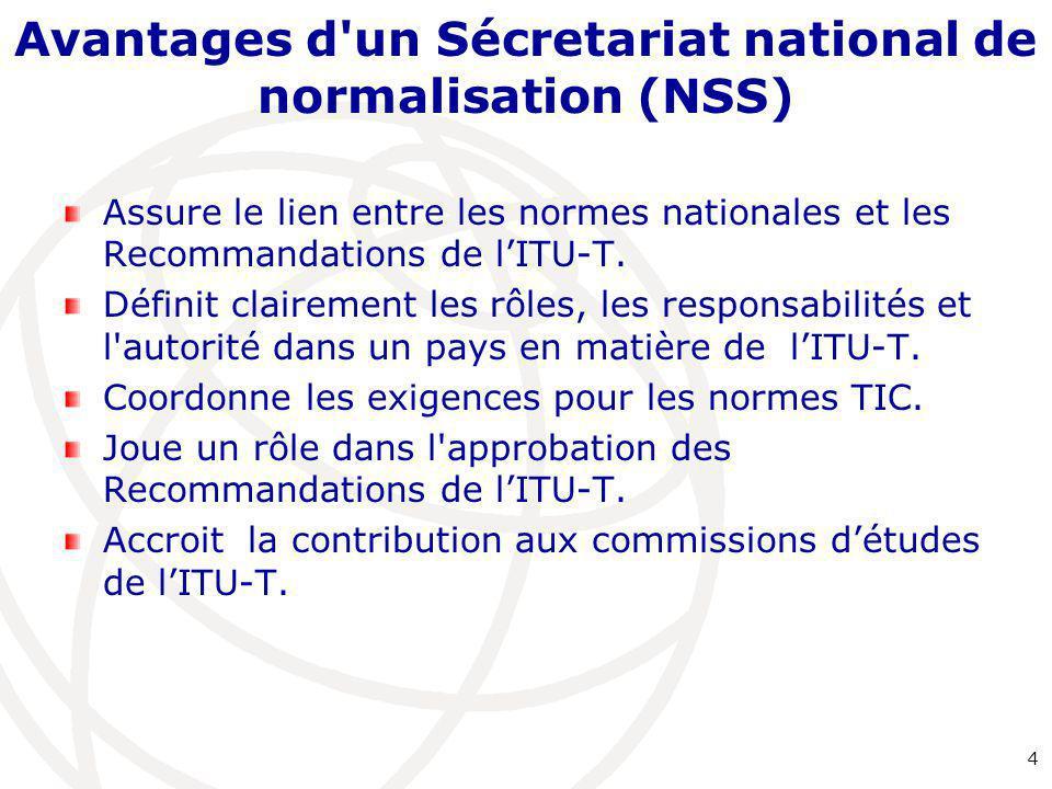 Avantages d un Sécretariat national de normalisation (NSS)