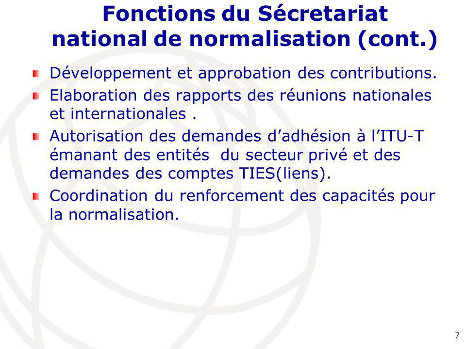 Fonctions du Sécretariat national de normalisation (cont.)