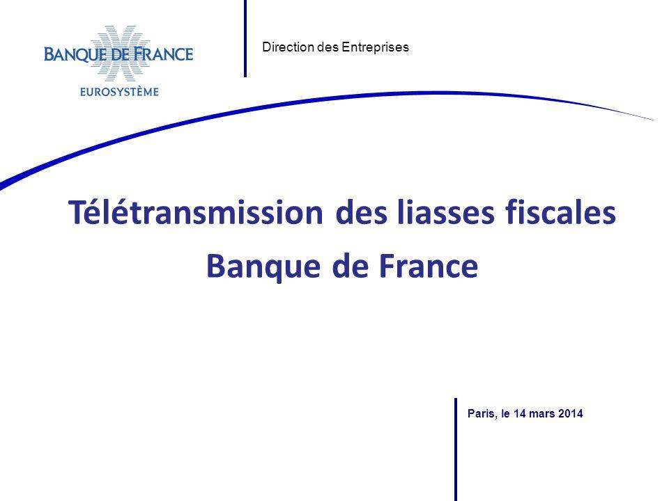 Télétransmission des liasses fiscales Banque de France