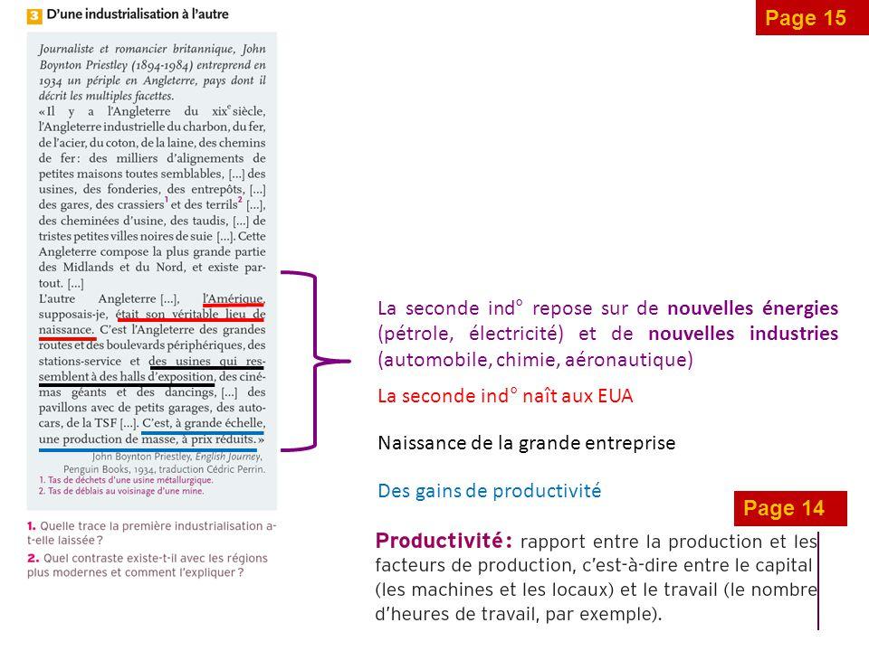 Page 15 La seconde ind° repose sur de nouvelles énergies (pétrole, électricité) et de nouvelles industries (automobile, chimie, aéronautique)