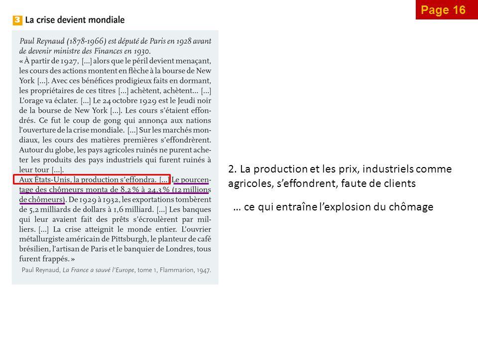 Page 16 2. La production et les prix, industriels comme agricoles, s'effondrent, faute de clients.