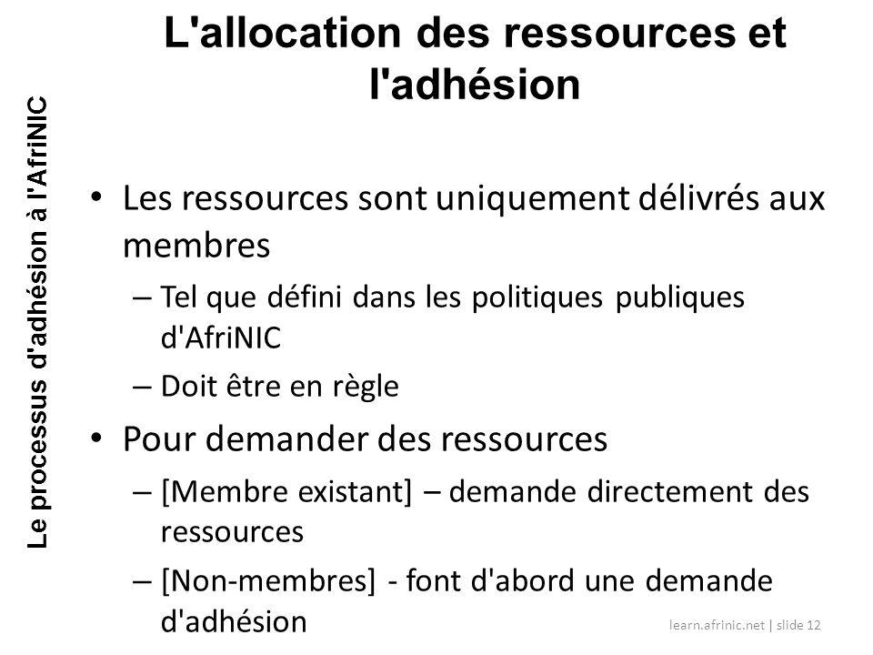 L allocation des ressources et l adhésion