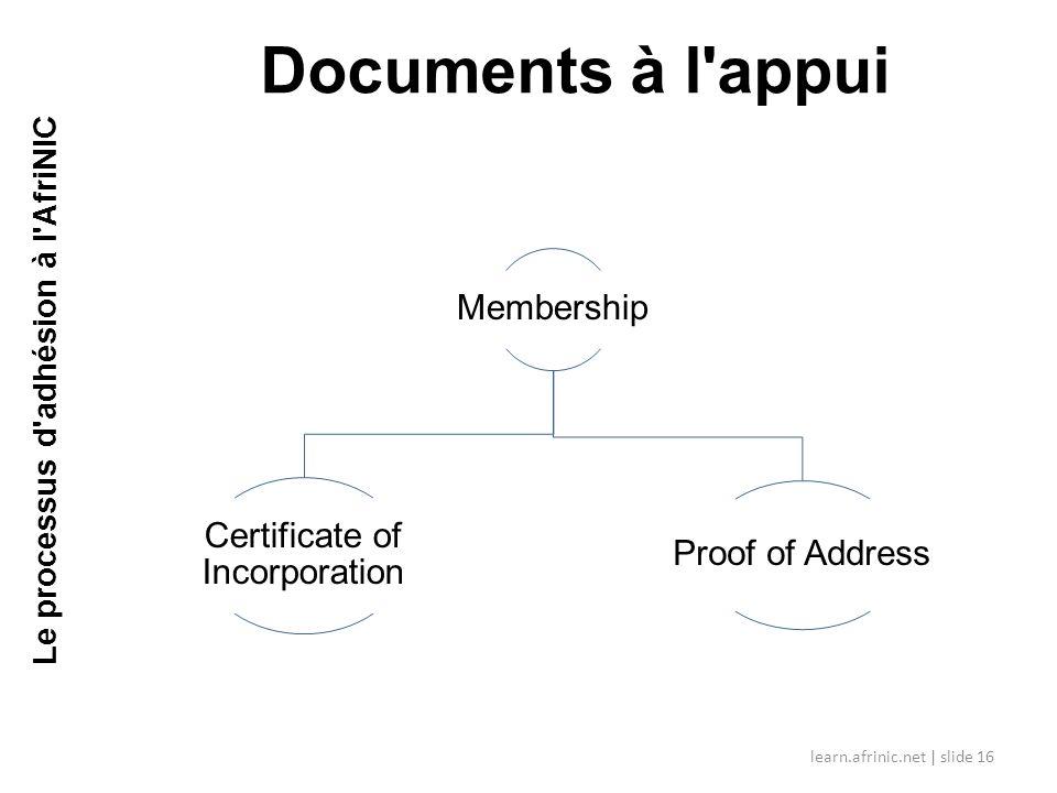 Le processus d adhésion à l AfriNIC