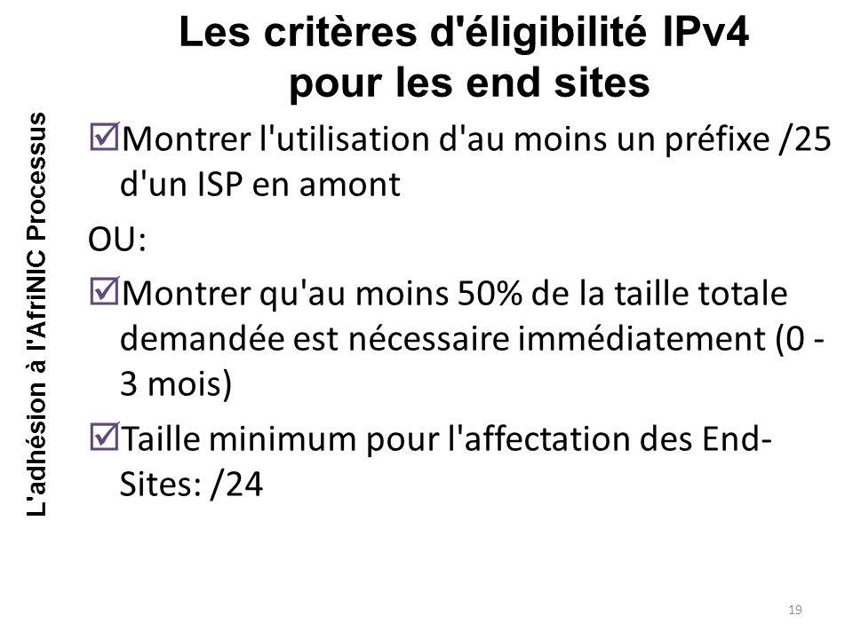 Les critères d éligibilité IPv4 pour les end sites