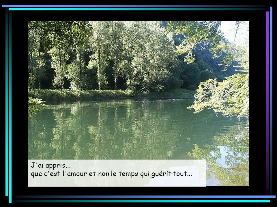 J ai appris... que c est l amour et non le temps qui guérit tout...