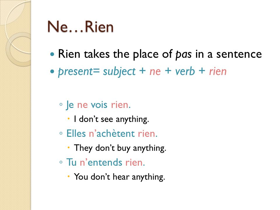 Ne…Rien Rien takes the place of pas in a sentence