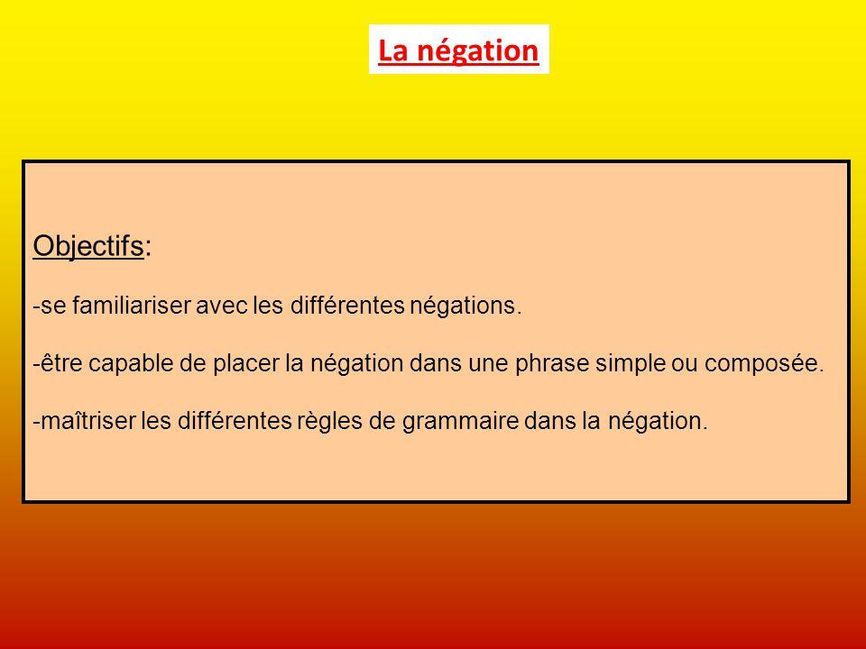 La négation Objectifs: se familiariser avec les différentes négations.
