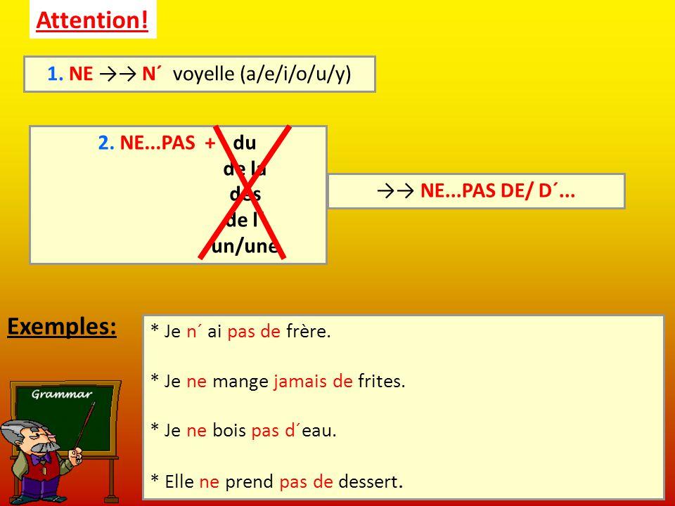 1. NE →→ N´ voyelle (a/e/i/o/u/y)