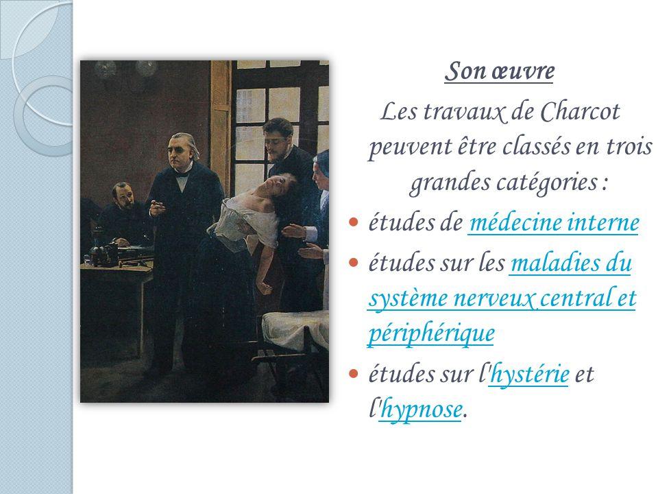 Son œuvre Les travaux de Charcot peuvent être classés en trois grandes catégories : études de médecine interne.