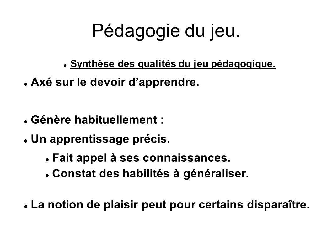Synthèse des qualités du jeu pédagogique.