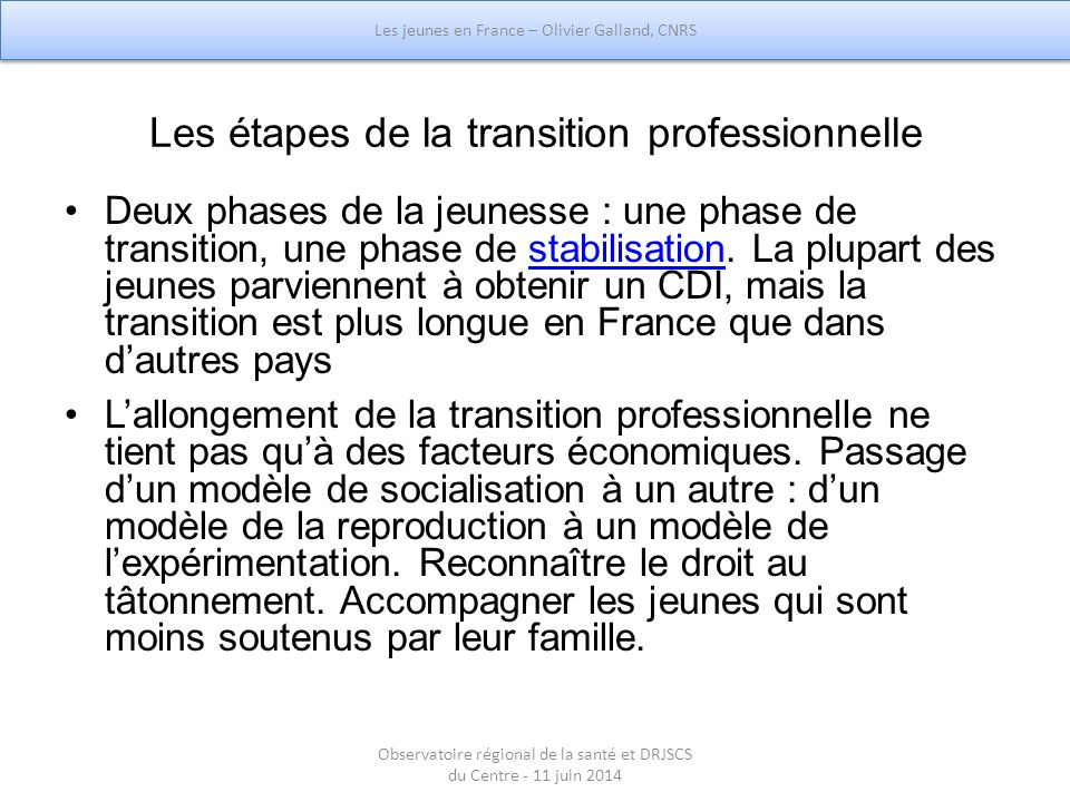 Les étapes de la transition professionnelle