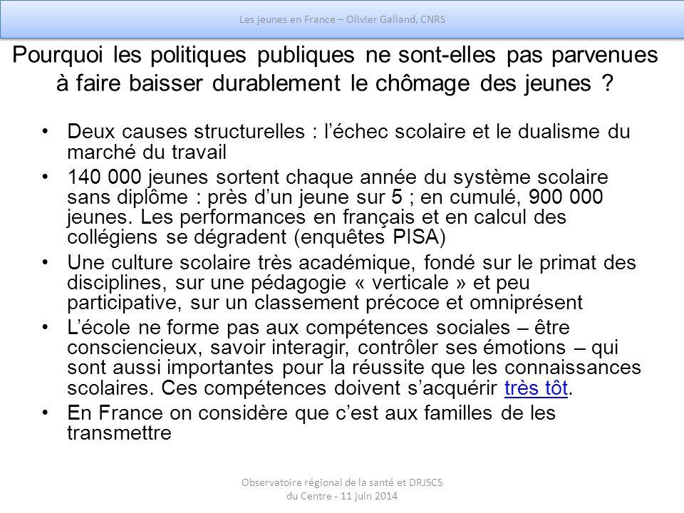 Les jeunes en France : entrée dans la vie adulte, aspriations et politiques publiques - Olivier Galland CNRS
