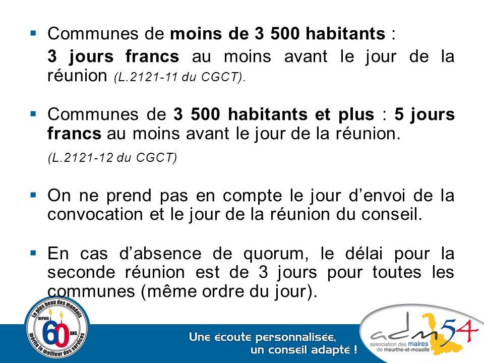 Communes de moins de 3 500 habitants :