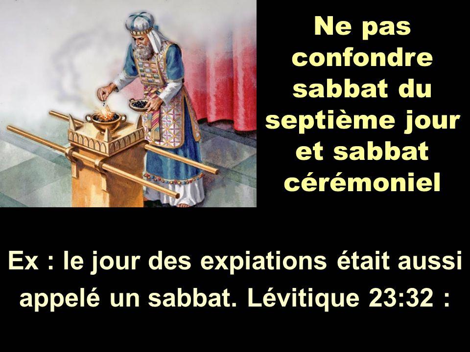 Ne pas confondre sabbat du septième jour et sabbat cérémoniel