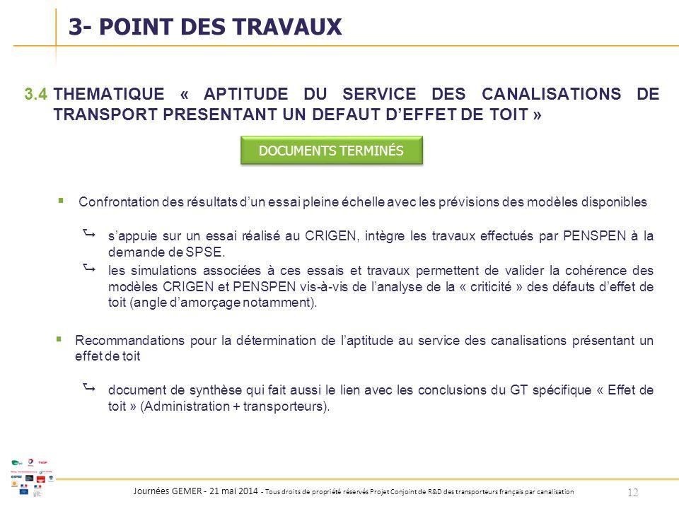 3- POINT DES TRAVAUX 3.4 THEMATIQUE « APTITUDE DU SERVICE DES CANALISATIONS DE TRANSPORT PRESENTANT UN DEFAUT D'EFFET DE TOIT »