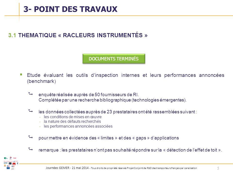3- POINT DES TRAVAUX 3.1 THEMATIQUE « RACLEURS INSTRUMENTÉS »