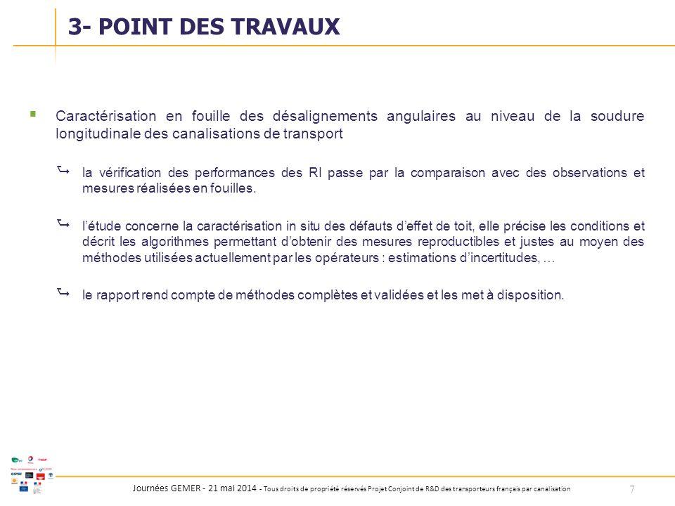 3- POINT DES TRAVAUX Caractérisation en fouille des désalignements angulaires au niveau de la soudure longitudinale des canalisations de transport.
