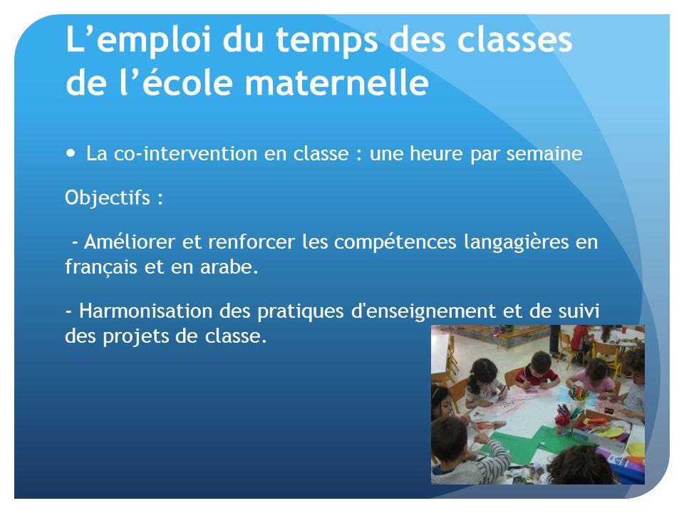 L'emploi du temps des classes de l'école maternelle