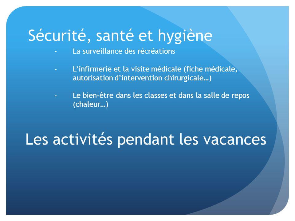 Sécurité, santé et hygiène