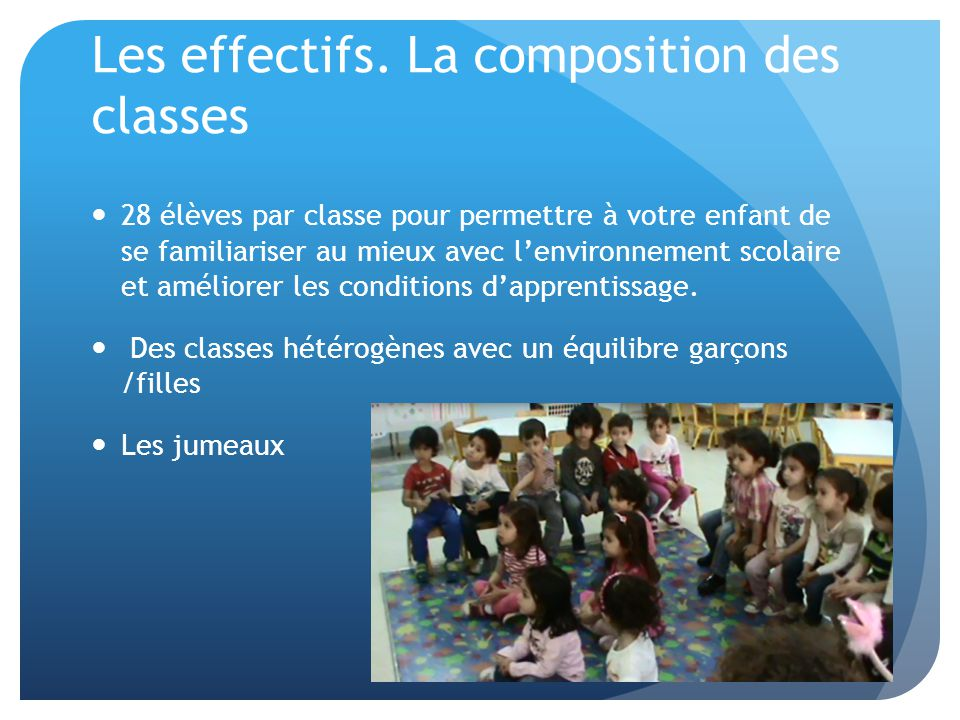 Les effectifs. La composition des classes